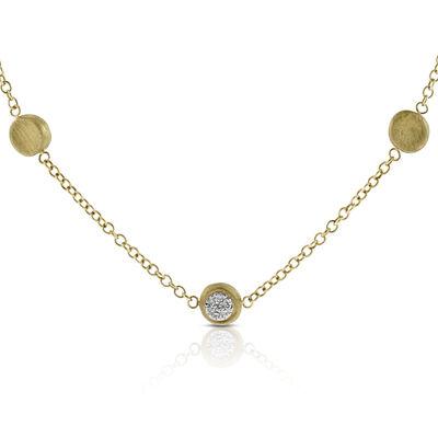 Toscano Satin Diamond Station Necklace 14K
