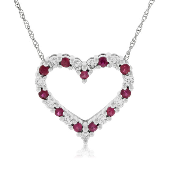 Ruby & Diamond Heart Pendant 14K