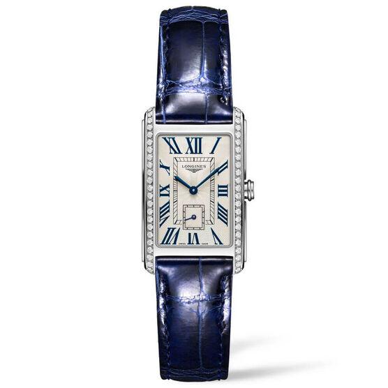 Longines DolceVita Diamond Blue Leather Quartz Watch, 23.3 x 37mm