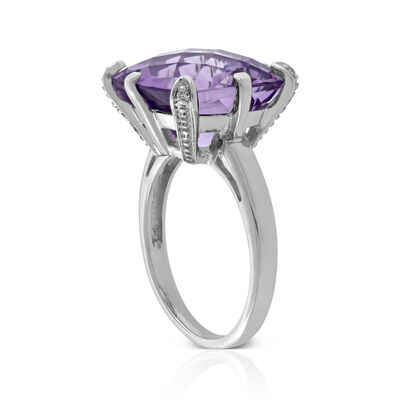 Checkerboard Amethyst & Diamond Ring 14K