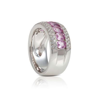 Channel Set Oval Pink Sapphire & Diamond Band 14K