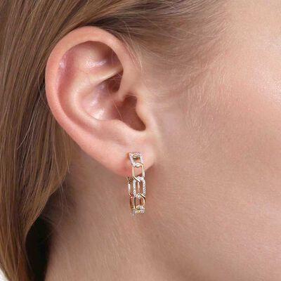 Diamond Chain Link Hoop Earrings 14K