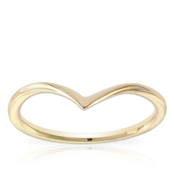 Yellow Gold Chevron Midi Ring 14K