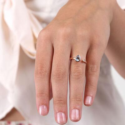 Rose Gold Aquamarine & Diamond Open Shank Ring 14K