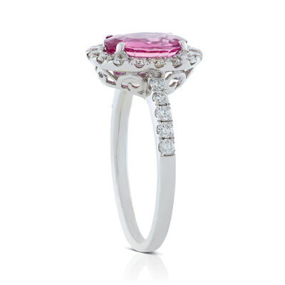 Oval Pink Sapphire & Diamond Halo Ring 14K