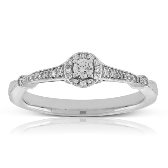 Two-Tone Halo Diamond Ring 14K