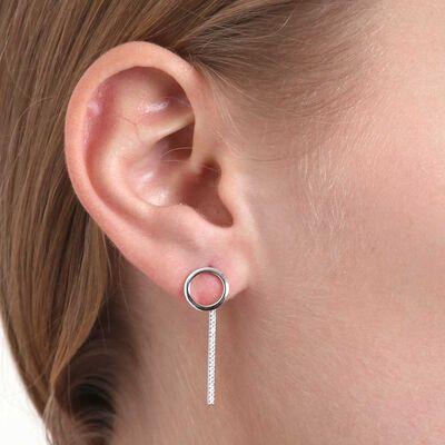 Circle Stud & Diamond Bar Drop Earrings 14K