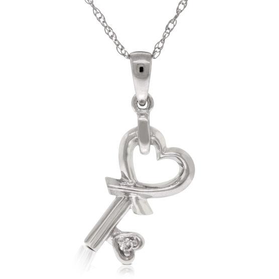 Diamond Heart Key Pendant 14K
