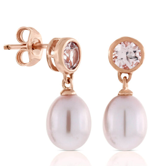 Rose Gold Freshwater Cultured Pearl & Morganite Earrings 14K