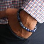Men's Sodalite Bead Bracelet, Silver Clasp