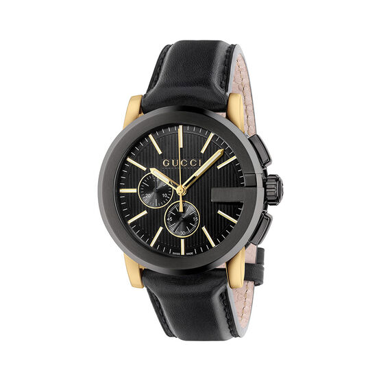 Gucci G-CHRONO Leather Strap Watch