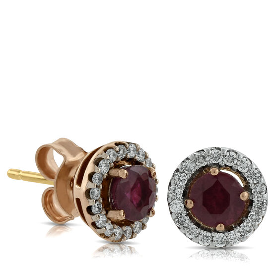 Rose Gold Ruby & Diamond Halo Earrings 14K