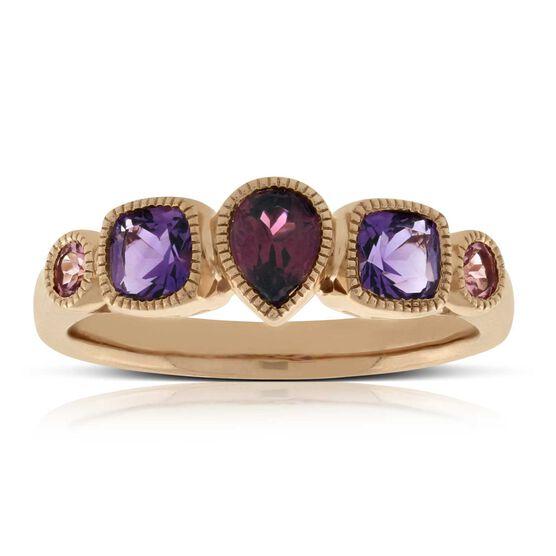 Rose Gold Tourmaline, Amethyst & Garnet Ring 14K
