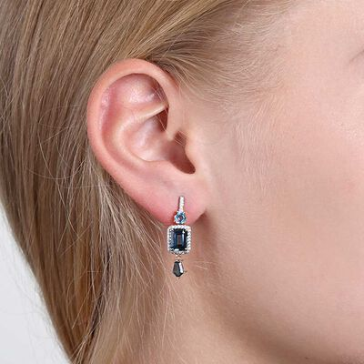 Geometric Blue Topaz & Diamond Earrings 14K