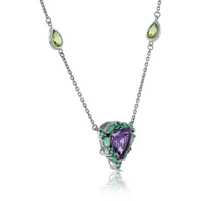 Lisa Bridge Amethyst, Emerald & Peridot Necklace