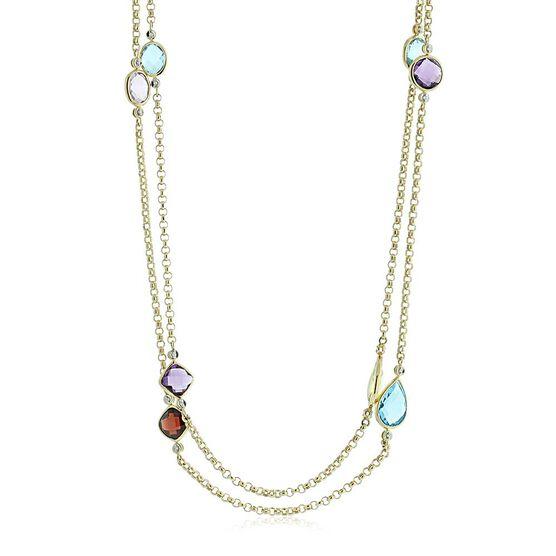 "Multiple Gemstone & Diamond Station Necklace 14K, 36"""