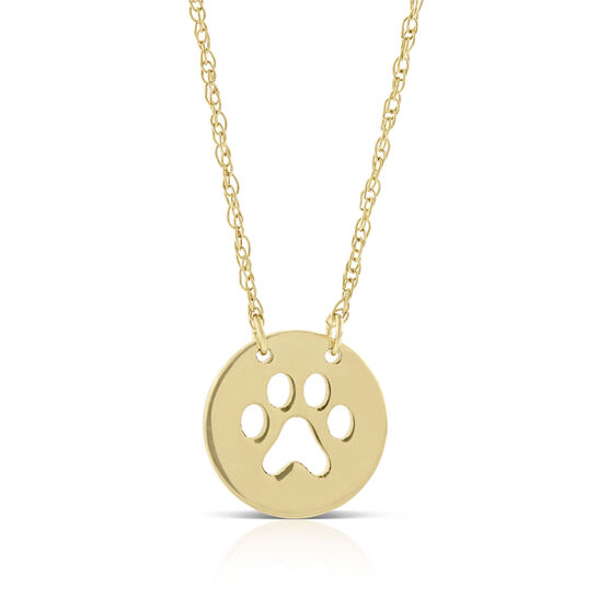 Paw Print Cut Out Mini Disc Necklace 14K