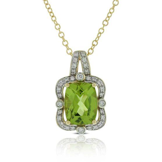 Cushion Peridot & Diamond Halo Necklace 14K