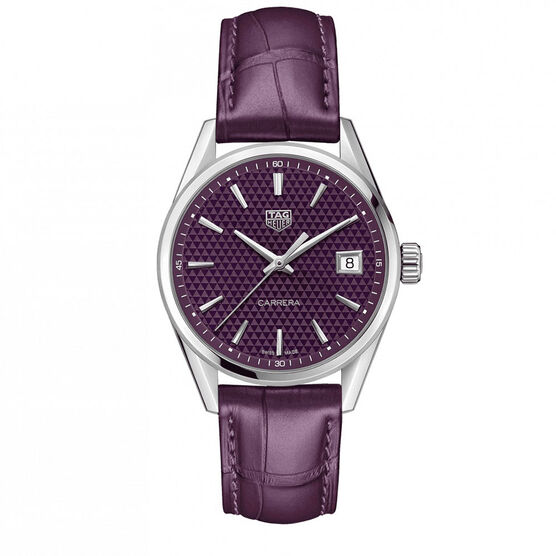 TAG Heuer Carrera Plum Dial & Strap Watch