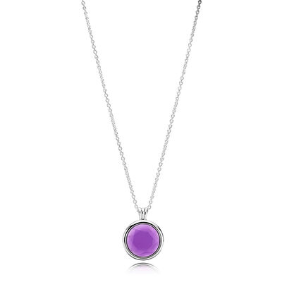 PANDORA Faceted Floating Locket Necklace, Synthetic Amethyst