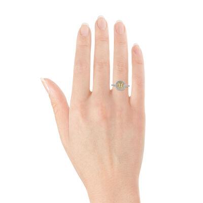 Cushion Cut Yellow Diamond Halo Ring 14K
