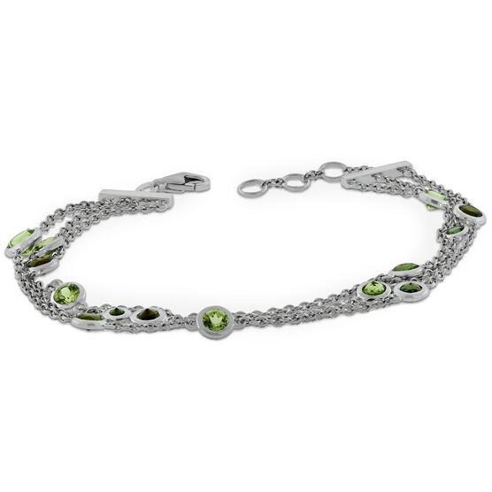 Lisa Bridge Bezel Set Peridot & Tourmaline Bracelet