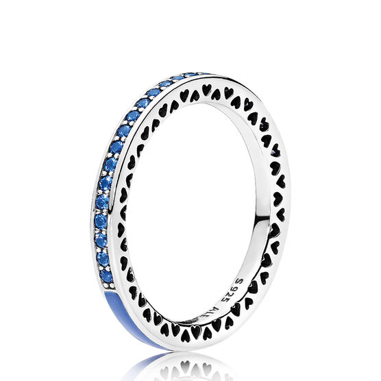 Radiant Hearts of PANDORA Ring, Blue Enamel & Crystals