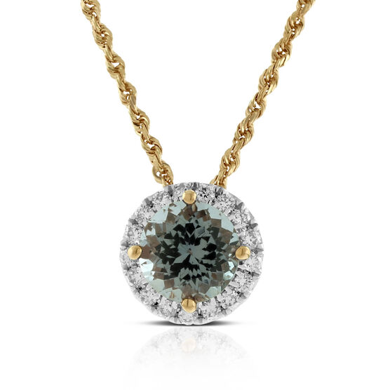 Rose Gold Gray Spinel & Diamond Halo Pendant 14K