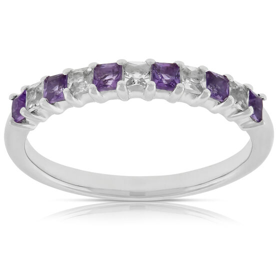 Amethyst & White Topaz Band 14K