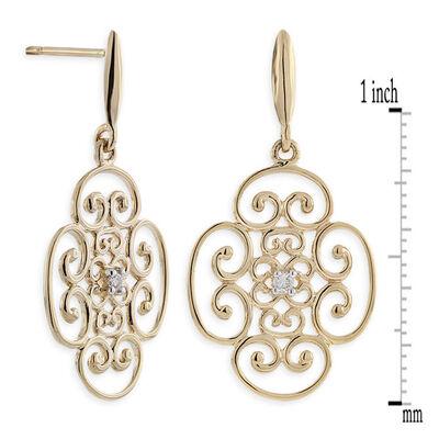 Scroll Diamond Earrings 14K