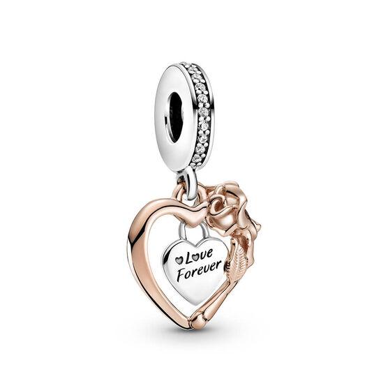 Pandora Rose™ Heart & Rose Flower CZ Dangle Charm