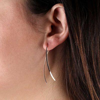 Rose Gold Crossover Threader Earrings 14K