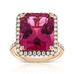 Rose Gold Pink Tourmaline & Diamond Ring 18K