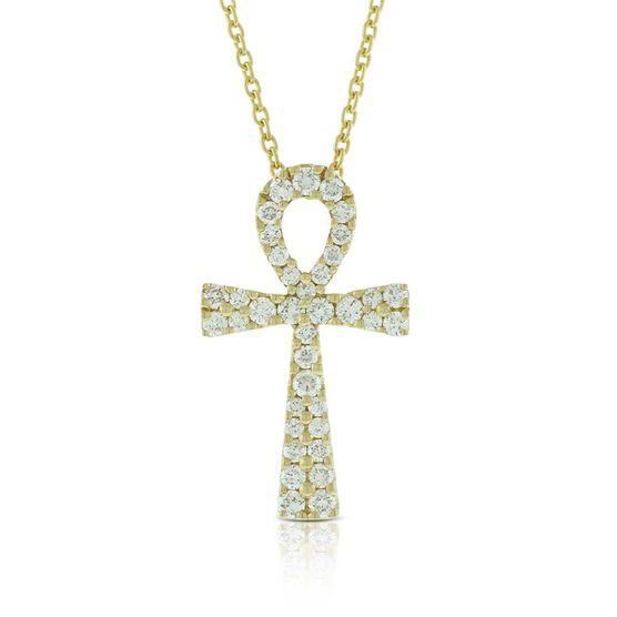 Diamond Ankh Necklace 14K