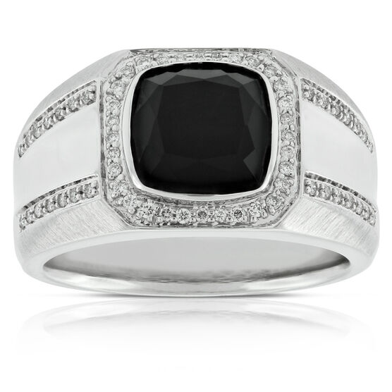 Men's Onyx & Diamond Ring 14K