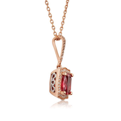 Rose Gold Cushion Pink Spinel & Diamond Halo Necklace 14K