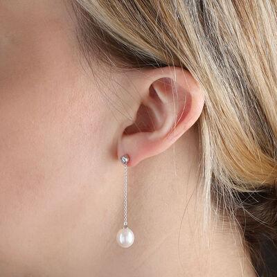 Cultured Freshwater Pearl & Diamond Earrings 14K