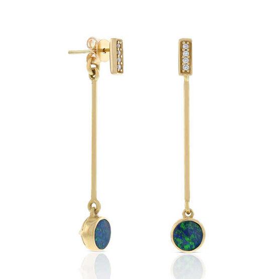 Opal Doublet & Diamond Dangle Earrings 14K