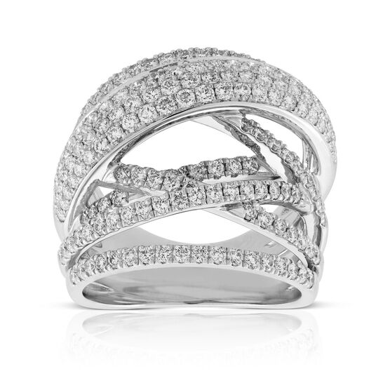 Criss Cross Diamond Statement Ring 14K