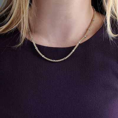 Toscano Popcorn Station Necklace 14K