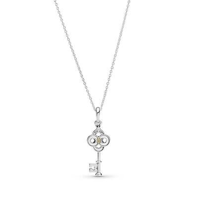 Pandora Two-tone Key & Flower Necklace, 14K & Silver