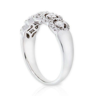 5-Stone Diamond Halo Ring 14K