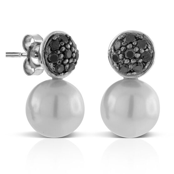 Cultured Freshwater Pearl & Black Diamond Earrings 14K
