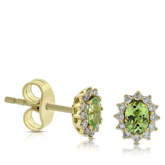 Peridot & Diamond Earrings 14K