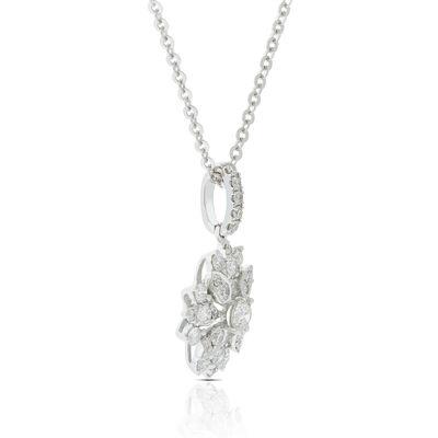 Diamond Floral Burst Necklace 14K
