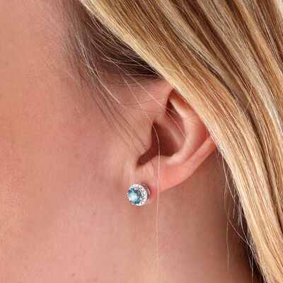 Blue Zircon & Diamond Halo Earrings 14K