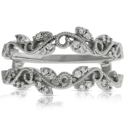Diamond Floral Ring Guard 14K