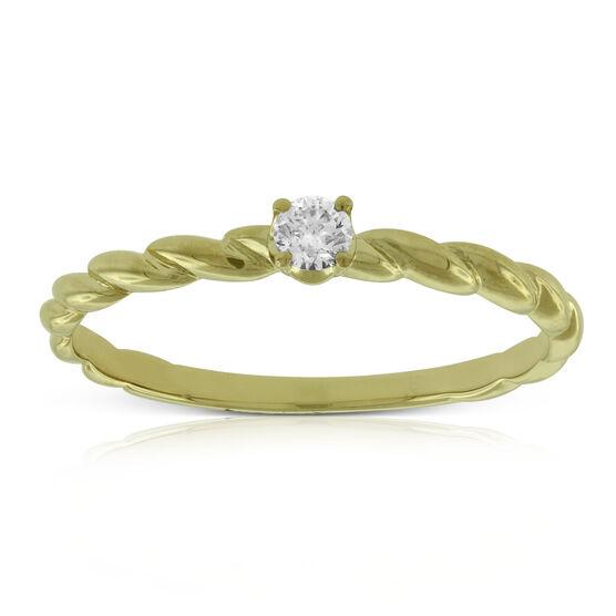 Twisted Band Diamond Ring 14K