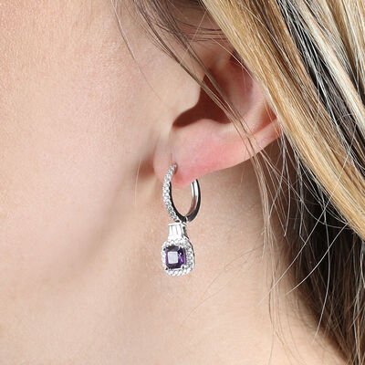 Amethyst & Diamond Halo Hoop Earrings 14K
