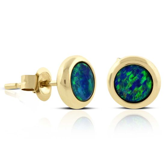 Opal Doublet Bezel Set Earrings 14K
